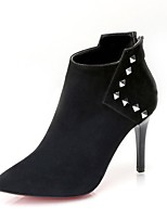 Women's Shoes Suede Fall Fashion Boots Boots Stiletto Heel Pointed Toe Zipper For Casual Black