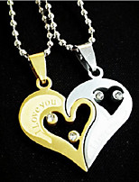 Men's Women's Pendant Necklaces Heart Rhinestone Alloy Love Jewelry For Engagement Gift