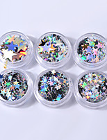 6box différentes tailles d'argent cinq paillettes étoiles pointées laser paillettes colorées décorations d'ongles