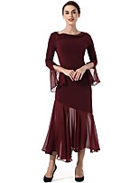 SUOQI Women's Party Casual Bodycon Swing Dress,Solid Cowl Neck Maxi Long Sleeves Polyester Spandex Fall Mid Rise Micro-elastic Medium