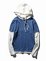 Men's Plus Size Plus Size Casual/Daily Simple Hoodie Color Block Patchwork Hooded Inelastic Cotton Spandex Long Sleeve Spring Fall
