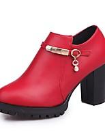 Mujer Zapatos PU Otoño Botas de Moda Botas Tacón Robusto Dedo redondo Cremallera Para Casual Negro Rojo