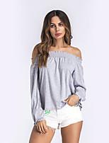 Tee-shirt Femme,Couleur Pleine Vacances Décontracté / Quotidien Sexy Chic de Rue Manches Longues Bateau Polyester