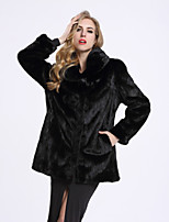 BF-Fur Style Women's Casual/Daily Sophisticated Winter Fur Coat,Solid Shirt Collar Long Sleeve Regular Fox Fur
