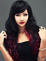 Women Synthetic Wig Capless Long Wavy Black/Burgundy With Bangs Cosplay Wig Costume Wig
