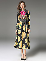 Maxlindy Women's Party Going out Casual/Daily Sexy Vintage Sophisticated A Line Dress,Floral Embroidered Shirt Collar Midi Long Sleeves Polyester