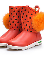 Girls' Shoes Real Leather Winter Snow Boots Boots For Casual Blushing Pink Red Coffee