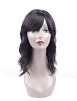 Women Human Hair Lace Wig Brazilian Remy Lace Front 130% Density With Bangs Natural Wave Wig Black Short Medium Length Virgin