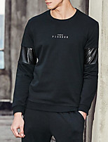 Men's Going out Sweatshirt Letter Round Neck Micro-elastic Others Long Sleeve Spring Fall