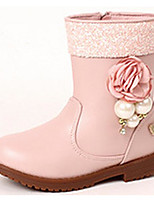 Girls' Shoes Synthetic Microfiber PU Fall Winter Snow Boots Fashion Boots Boots For Casual Blushing Pink Black White