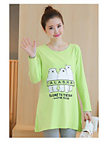 Women's Daily Casual T-shirt,Solid Animal Print Round Neck Long Sleeves Cotton