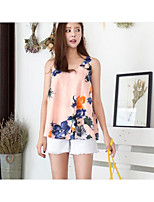 Women's Going out Casual/Daily Cute Summer Tank Top,Floral Strap Sleeveless Cotton Polyester Medium
