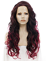 Men Women Synthetic Wig Lace Front Long Wavy Burgundy Ombre Hair Natural Hairline Drag Wig Party Wig Halloween Wig Cosplay Wig Natural