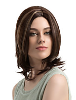 Women Synthetic Wig Capless Medium Length Natural Wave Brown Highlighted/Balayage Hair Layered Haircut Natural Wigs Costume Wig