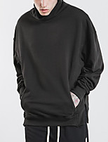 Men's Sports Holiday Sweatshirt Solid Stand Micro-elastic Polyester Long Sleeve Spring Fall