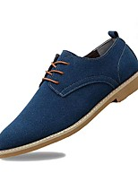 Men's Shoes PU Spring Fall Comfort Oxfords Lace-up For Casual Khaki Blue Black