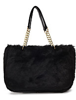 Women Bags Velvet Fur Shoulder Bag Feathers / Fur for Casual All Seasons White Black Red Khaki