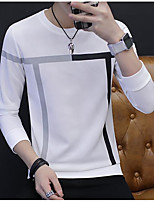 Men's Daily Casual Sweatshirt Color Block Round Neck Micro-elastic Polyester Long Sleeve Fall
