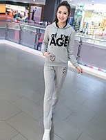 Women's Daily Casual Spring Fall Hoodie Pant Suits,Letter Hooded Long Sleeve Stretch Yarn