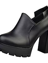 Women's Shoes PU Fall Winter Comfort Heels Block Heel Pointed Toe Zipper For Casual Black