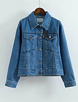 Women's Casual/Daily Street chic Spring Fall Denim Jacket,Solid Shirt Collar Long Sleeve Regular Others