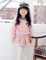 Girls' Solid Striped Color Block Sets,Cotton Spring Fall Long Sleeve Clothing Set