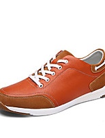 Men's Shoes Cowhide Spring Fall Comfort Sneakers For Casual Burgundy Blue Orange