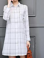Chemise Femme,Géométrique Sortie Décontracté / Quotidien Grandes Tailles Chic de Rue Toutes les Saisons Manches Longues Col de Chemise