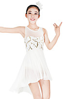 Ballet Dresses Women's Children's Performance Elastic Elastane Sequined Lycra Flower(s) Paillette Sleeveless Natural Dresses Headpieces