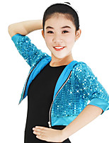 Jazz Tops Sequins Women's Children's Performance Nylon Stretch Satin Sequined Paillette 3/4 Length Sleeve High Top