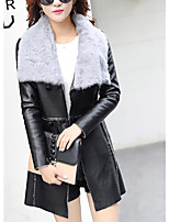 Women's Going out Street chic Winter Fur Coat,Solid V Neck Long Sleeve Regular Cashmere PU