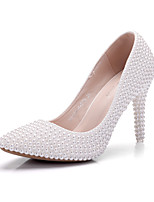 Women's Shoes PU Spring Fall Comfort Novelty Wedding Shoes Pointed Toe Pearl For Wedding Party & Evening White