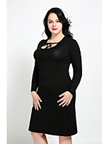 Gaine Robe Femme Décontracté / Quotidien Grandes Tailles simple Mignon Chic de Rue,Couleur Pleine Col Arrondi Mi-long Manches Longues