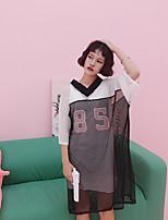 Tee-shirt Femme,Lettre Sports Sortie simple Actif Eté Manches Courtes Col en V Autres Moyen