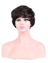 Men Synthetic Wig Capless Short Straight Dark Brown Layered Haircut Party Wig Halloween Wig Natural Wigs Costume Wig