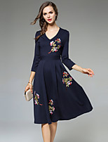 MAXLINDY Women's Party Going out Casual/Daily A Line Chiffon Dress,Embroidered V Neck Knee-length 3/4 Length Sleeves Polyester Fall Winter Mid Rise