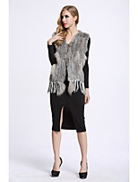 BF-Fur Style Women's Going out Simple Winter Fur Coat,Color Block V Neck Sleeveless Short Faux Fur