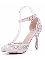 Femme Chaussures Polyuréthane Printemps Automne Confort Nouveauté Chaussures de mariage Bout pointu Cristal Applique Perle Pour Mariage