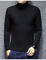 Men's Casual/Daily Regular Cardigan,Solid Turtleneck Long Sleeves Cotton Fall Winter Medium Micro-elastic