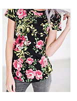 Women's Daily Vintage Chinoiserie Spring Summer T-shirt,Floral Round Neck Short Sleeves Cotton Thin