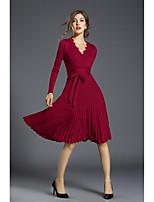 Gaine Robe Femme Décontracté / Quotidien Travail simple Chic de Rue,Couleur Pleine Col en V Mi-long Manches Longues Polyester Automne