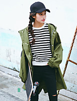 Для женщин На каждый день Осень Зима Тренч Капюшон,Очаровательный Уличный стиль С принтом Длинная Хлопок