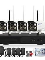 yanse® 1080 p 4ch sans fil nvr kits 4 pcs étanche ir vision nocturne wifi caméra ip système de sécurité hd 2.0mp