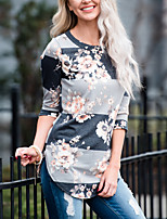 Women's Daily Holiday Fall T-shirt,Color Block Round Neck 3/4 Length Sleeves Cotton
