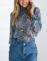 Women's Going out Club Vintage Street chic Spring Fall T-shirt,Floral Crew Neck Long Sleeves Polyester Medium