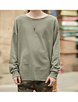 Men's Sports Holiday Sweatshirt Solid Round Neck Micro-elastic Polyester Long Sleeve Spring Fall