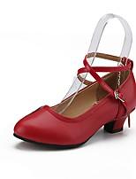 Women's Modern Real Leather Heel Professional Buckle Cuban Heel Gold Black Silver Red Customizable