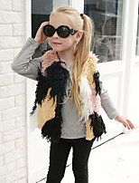 Girls' Patchwork Jacket & CoatWool Rabbit Fur Raccoon Fur Fall Winter Sleeveless