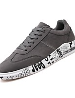 Men's Shoes PU Spring Fall Comfort Sneakers Lace-up For Casual Gray Black/Gold Black/White