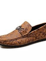 Hombre Zapatos PU Primavera Otoño Mocasín Zapatos de taco bajo y Slip-On Para Casual Negro Amarillo Caqui